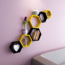 set of 6 decorative hexagon wall shelf unit yellow u0026 black