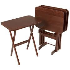 folding oversized wood tray table in espresso tv tray table solid wood folding tv tray sets manchester wood