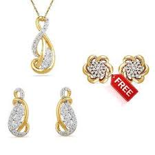 new gold set awani sterling cz set by d gold pendant sets homeshop18