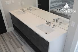 Beautiful White Bathroom Vanity With Double Sink And Waterfall Leg - Bathroom vanities with quartz countertops