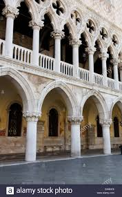 design details columns and arches of doges palace venice italy