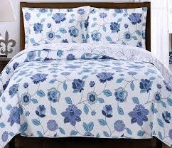 Coverlet Bedding Sets Cottage Blue Purple Floral Lightweight Reversible Quilt Coverlet