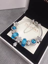 flower charm bracelet images Pandora blue flower charm bracelet with 9 pcs blue flower charms JPG