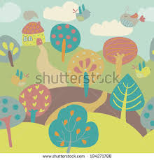 cute trees seamless background cute trees house birds stock vector 194271788