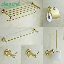 Gold Bathroom Decor by Gold Plating Brass And Crystal Bathroom Accessories Set 6 Pieces