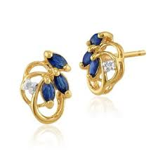 9ct gold earrings 9ct yellow gold 0 40ct blue sapphire diamond floral stud earrings