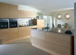Natural Oak Kitchen Cabinets Design Mosaic Tile Backsplash Round Pendant Lamp Brown Natural