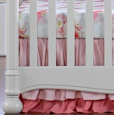 pink watercolor floral bumperless crib bedding liz and roo