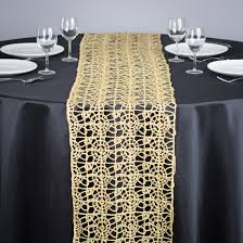fabric for table runners wedding gold lace table runner on round wedding dining table with black