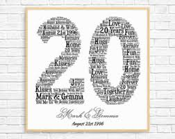 20th wedding anniversary gift 20th anniversary etsy