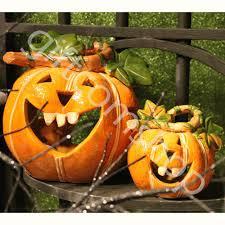led pumpkin tea lights gisela graham set of two ceramic pumpkin tea light halloween garden