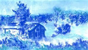 paint a winter scene using a monochromatic color scheme fun