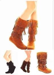 s boots with fringe s mid calf faux suede fringe tassle flat moccasin