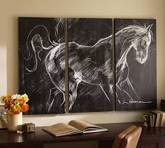 Pottery Barn Wall Phone Planked Horse Triptych Pottery Barn