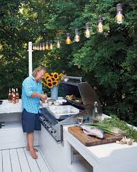 Outdoor Grill Light The Grill Area Is Lit From Above With Vintage Style Bistro Lights