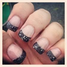 black glitter tip acrylic nails nail design art pinterest