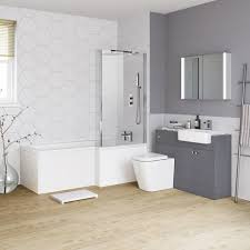 Combination Vanity Units For Bathrooms by 1700mm Harper Right Hand Shower Bath U0026 Gloss Grey Combined Vanity