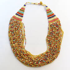 necklace gold pink images African zulu beaded cascade necklace gold red pink blues gone jpg