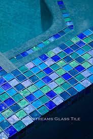 Waterfall Glass Tile Lightstreams Glass Pool Tile Multicolor Blue Green