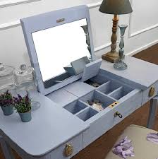 Blue Vanity Table Espresso Wooden Single Mirror Vanity Dressing Table With Three
