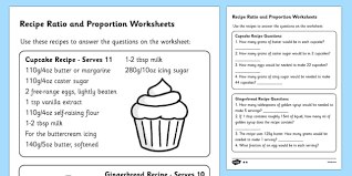 recipes ratio and proportion worksheet ratio and proportion