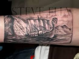 sailing vikingship tattoo on forearm in 2017 real photo pictures