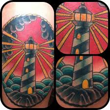 traditional lighthouse and cloud tattoos on leg photo 2 2017