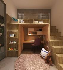 kids room rustic style brown textured wood loft bed with desk