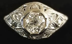 14kt filigree ring hand engraved diamond ring art deco village