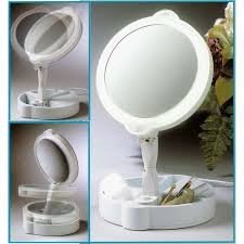Rialto Mirrors Lighted by Home Travel 9x 1x Folding Lighted Cosmetic Mirror