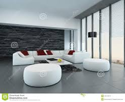 interior of a modern grey and white living room stock illustration