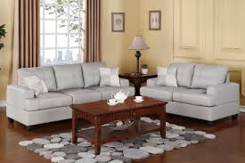 Gray Leather Sofa And Loveseat Gray Leather Sofa And Loveseat With Tufted Saddle And Back Placed