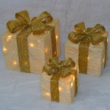 Christmas Decoration Light Up Presents by Set Of 3 Premier Led Illuminated Coloured Christmas Parcels In