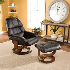 Swivel Glider Recliner Chair by Bonded Leather Swivel Recliner With Movable Side Table And Ottoman