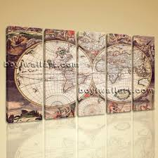 Large World Map Canvas by Large Wall Art Print On Canvas World Map Retro Global Atlas Home Decor