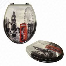 themed toilet seats mdf london print novelty toilet seat with chrome metal bottom