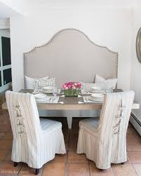 High Back Dining Chair Slipcovers Tie Back And Corseted Slipcovers A Way To Dress Up Plain