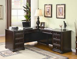 Home Office Double Desk by Home Office Corner Desk Furniture Chocolate Finish Wooden Corner