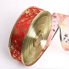christmas wired ribbon 200cm 2 5cm width organza ribbon printed ribbon wired