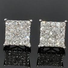 back earrings for men men s diamond stud earrings xl big square dia back white