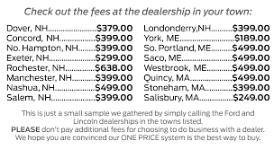 Sample Bill Of Sale For A Car by No Doc Fees In Portsmouth