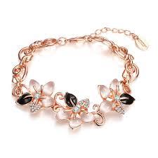 bracelet for wholesale gold plated plant rhinestone bracelet for