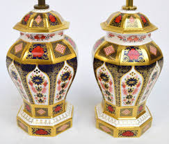 Royal Crown Derby Vase Two Boxed Royal Crown Derby Lamps Decorated In The