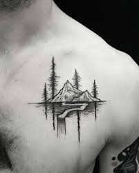 picture of mountain on the chest