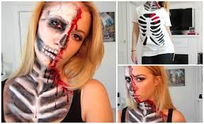 half skull halloween mask make up tutorial youtube