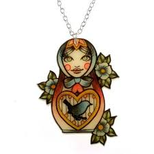 russian doll tattoo necklace the last gang emporium