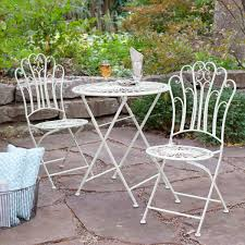 Folding Patio Bistro Set 3 Piece Folding Metal Outdoor Patio Furniture Bistro Set In Matte