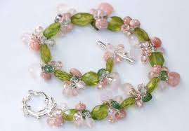 pink quartz bracelet images Green peridot with rose quartz and pink opal gemstone cluster jpg