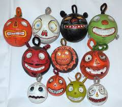 lot dept 56 glitterville ornaments pumpkin skull