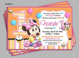 baby minnie mouse 1st birthday personalized invitations
